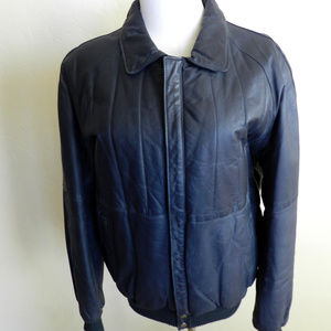Other - Mens Leather Jacket Navy Blue Size 50